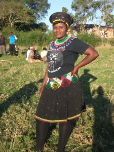 Zanele Mthembu in Traditional Zulu costume with modern T-Shirt