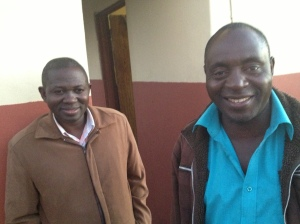 Trust Moyo on the right who runs a home church in Khambi. We are blessed to know him.