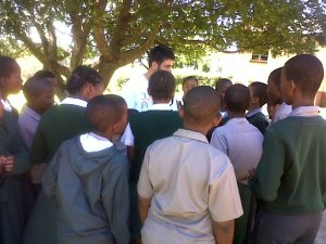 Salvador sharing at Louwsburg Primary School