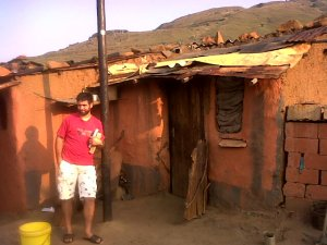 Mkhulu's Home where we meet for discipleship. He is getting electricity.