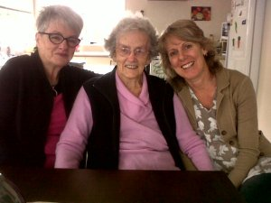 Di with Glenys and her mum Joan, Di's roomie.
