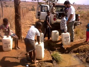 Fetching water from the communal tap