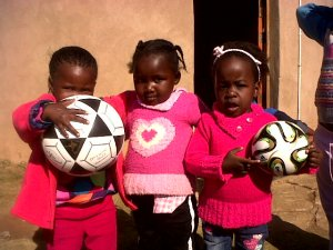 These soccer balls were bought for kid's club by the generosity of a lovely Christian sister in New Zealand