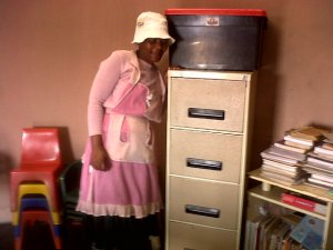 The same lovely sister bought a filing cabinet for kid's club