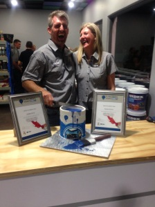 Riaan and Debbie Roux at the opening of their Midek paint franchise in Fourways.