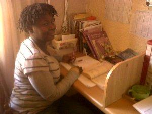 Rosie Wells doing her schooling