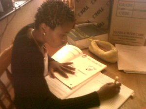 Thoko doing her course work