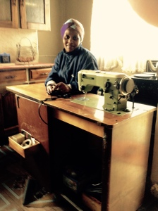 Celani with her new sewing machine