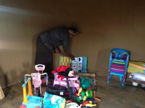 Giving toys to Sicelo Creche