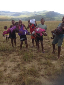 Kid's playing their guitars at KwamaThema where we preached the Gospel