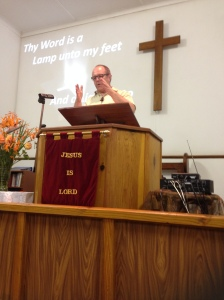 John gives his testimony at Bethany Baptist Church