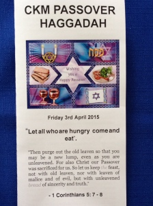 Hagaddah for the Coming King Ministries' passover.