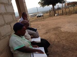 Phumlani teaches the ladies in KwaBhekephi Bible Study