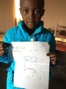 Owethu with her Hebrew and Greek work
