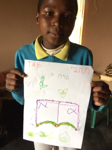 The Kids drew a picture of the Bible with their names in Hebrew and Greek letters to learn that the Bible was not written in Zulu or English.