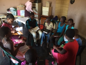 Khethiwe teaches the older kids at kid's club