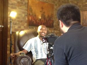 Karabo being interviewed